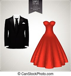 Black groom suits and red bridal gown