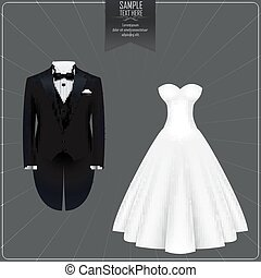 Tuxedo and bridal gown - Vector illustration of Tuxedo and...