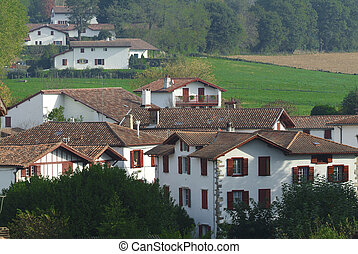 Traditional Labourdine houses in the village of Espelette,...