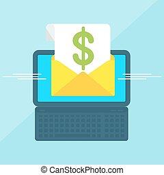 laptop with envelope dollar