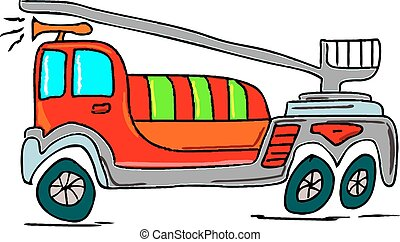 Hand drawn illustration of a fire truck on white background