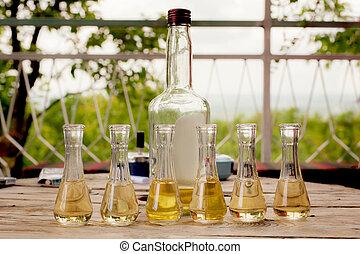 de madera, ciruela, aguardiente, botella, pequeño, tabla,...