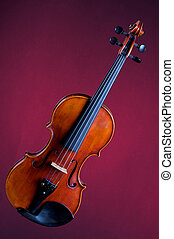 Complete Violin Viola Isolated on Red