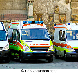 Ambulance team - Ambulance paramedic team with several...