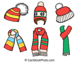 Winter clothes. Santa stocking cap. Knitted hats and Scarfs.