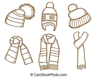 Winter clothes. Santa stocking cap. Knitted hats and Scarfs....