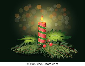 christmas candle with fir tree branch - vector illustration...