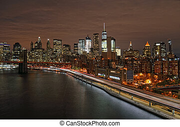 A night over a Manhattan. - View of Lower Manhattan with...