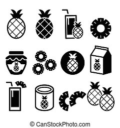 Pineapple fruit, pineapple slices, juice vector icons set -...