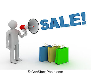 3D man with megaphone and word sale