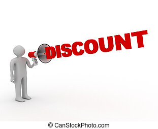 3D man with megaphone and word discount