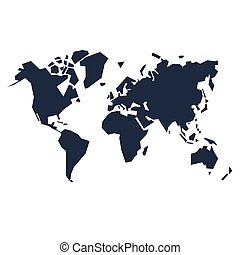 World map silhouette - Abstract dark world map silhouette...