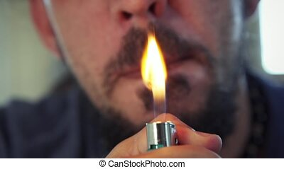 Hispanic Man Smoking Hashish Joint Marijuana Cigarette For...