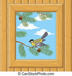Wood Window with Titmouse - Background with Wooden Wall and...