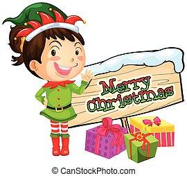 Girl and merry christmas sign