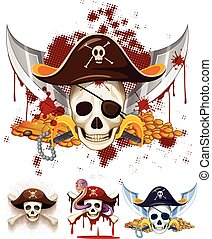 Pirate theme logo with skulls