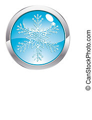 Gloss Button with Snowflake
