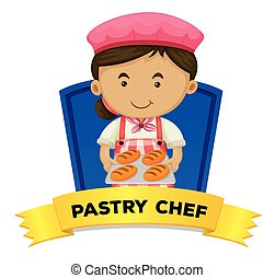 Job wordcard with pastry chef illustration