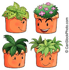 Flower pots with different types of plants illustration