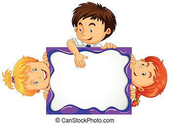 Three kids behind the white board illustration