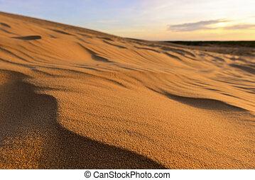 Close up of white sand dunes at Mui Ne, Vietnam.