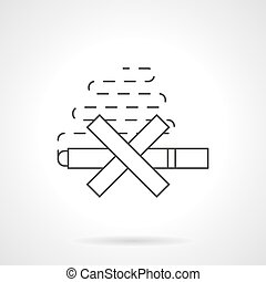 Harm of smoking flat line vector icon - Stop smoking...