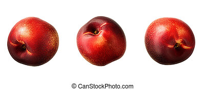Ripe fresh nectarine peach isolated on white background