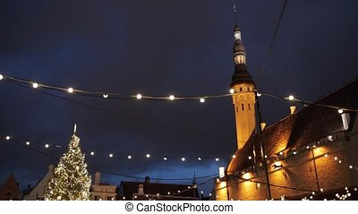 christmas tree at old tallinn town hall square - winter...