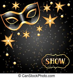 Carnival invitation card with golden mask and stars....