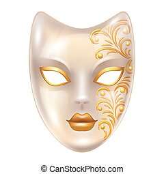 Carnival venetian masks decorated with golden ornaments.