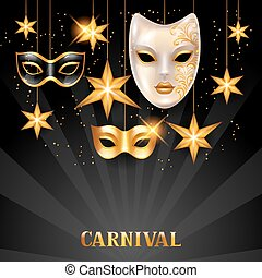 Carnival invitation card with golden masks and stars....