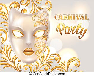 Carnival invitation card with venetian mask decorated golden...