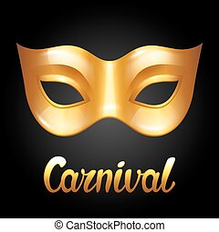 Carnival invitation card with golden mask. Celebration party...