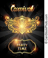 Carnival invitation card with golden lace mask. Celebration...
