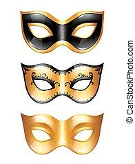 Set of golden carnival venetian masks on white background.