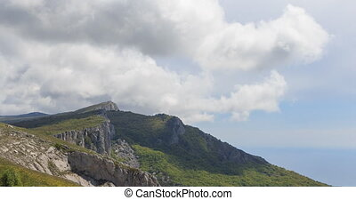 Clouds over the cliff. The ridge of Ai-Petri. Crimea....