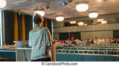 Científico, Dar, orador, conferencia, público, charla