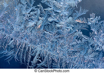 Abstract ice texture - Abstract ice pattern on winter glass