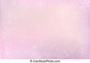 pink winter paper background with snowflake border