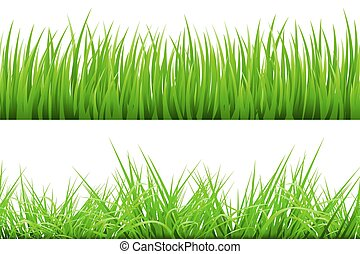 2 Backgrounds Of Green Grass, Isolated On White Background, Vector Illustration