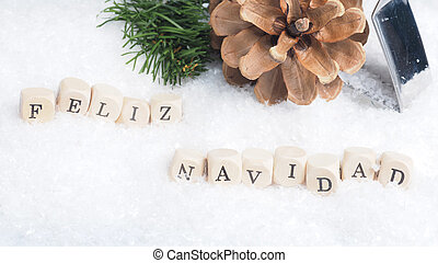 Feliz Navidad in snow - Christmas background with the...