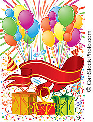 Party time - Party Frame with Balloon, streamer, banner,...