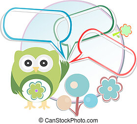 Cute owl with place for your text.