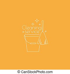 Logo cleaning service with broom and bucket. Linear icon....