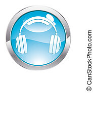 Gloss Button with Headphones