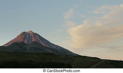 Movement of the clouds around the volcano Vilyuchinsky stock...