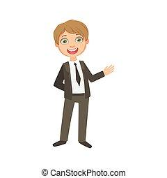 Boy In Classic Black Suit Happy Schoolkid In School Uniform...