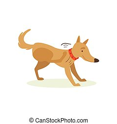 Brown Pet Dog Scratching From Fleas, Animal Emotion Cartoon Illustration