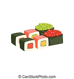 Set Of Rolls And Sushi Japanese Cafe Menu Item With Raw Fish...