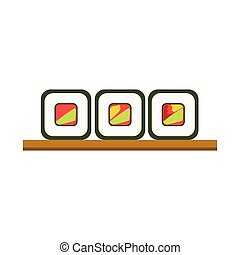Set Of Rolls On Wooden Plate Japanese Cafe Menu Item With...